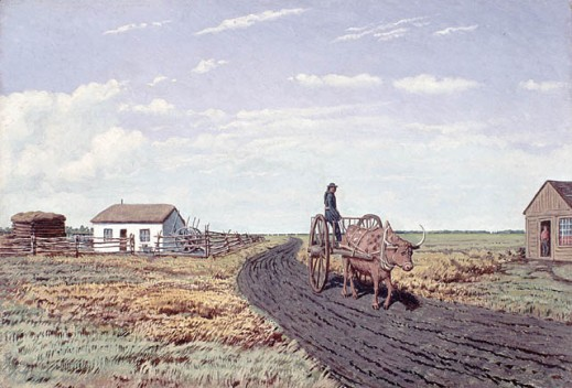 An oil painting depicting a person on a Red River cart being pulled by an ox on a dirt road. In the background, there is a small white house and two other small buildings.