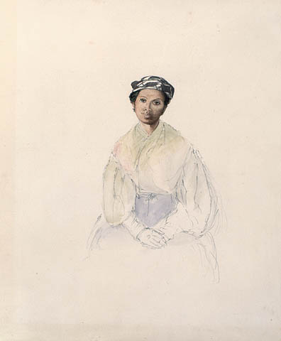 A sketched portrait of a seated woman. The artist has used the barest of lines at the base of the portrait to depict the woman's skirt, but has completed the watercolour portrait of the woman's face, with detail increasing toward the top of the page. The woman, who is Black, is wearing a black-and-white patterned headscarf, a shawl, a wide-sleeved blouse gathered at the wrists, gloves, and a skirt. She is seated with her hands folded in her lap and appears to be looking off into the distance, over the viewer's left shoulder.
