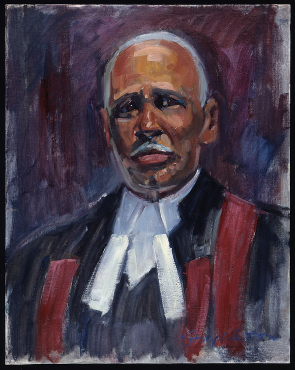 A painted head and shoulders portrait showing an older Black man dressed in judge's robes and a crisp white shirt. His black robes are embellished with a burgundy sash. The man, who looks directly at the viewer, has short grey hair and a white moustache.
