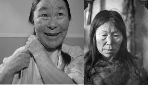 A black-and-white photograph of an Inuk woman with tattoos on her face and arms smiling while braiding her hair. Right: A black-and-white photograph of an Inuk woman in a fur parka.
