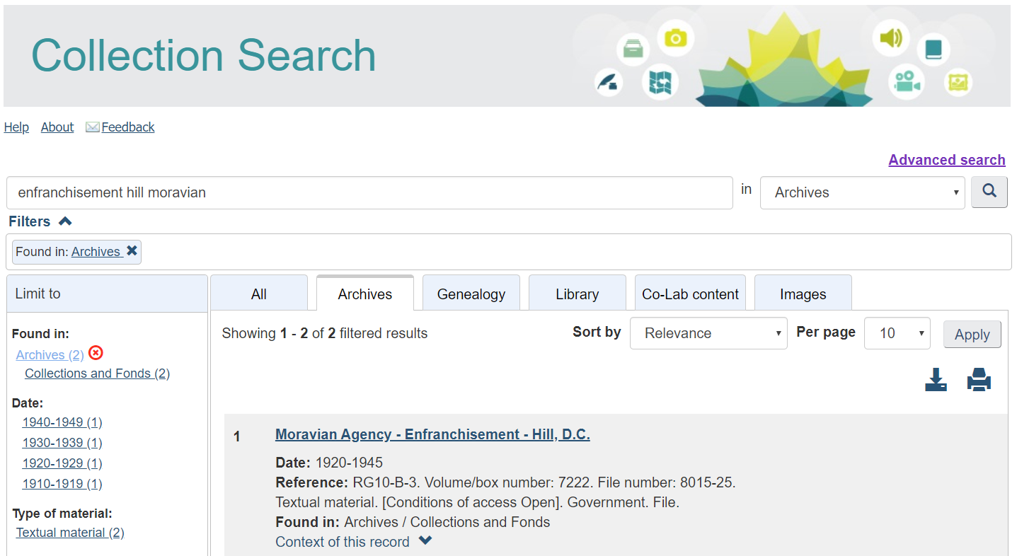 Screenshot of the Collection Search interface and search results.