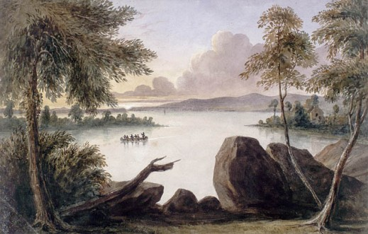 A painting depicting a canoe on a lake, with a house in the background, and trees and rocks in the foreground.