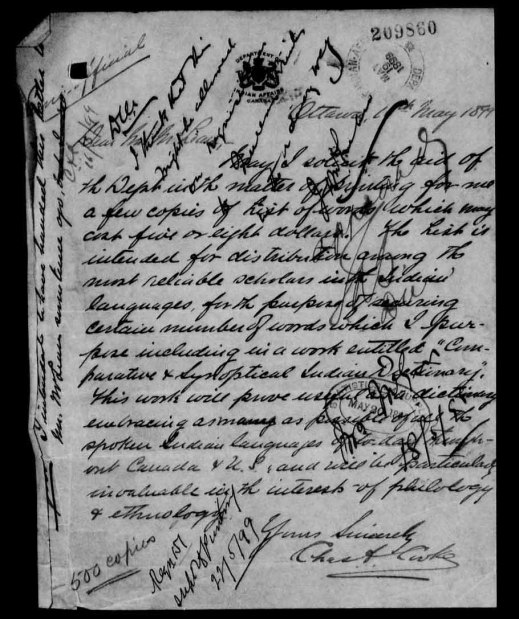 "A page with handwriting and stamps. At the bottom, it is signed ""Yours sincerely, Charles Cooke."""