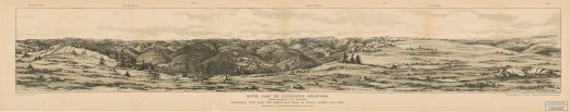 Black and white print of a drawing depicting a series of rounded mountains. There are trees and grass in the foreground. The print is titled and has some small labels along the top edge indicating cardinal directions.