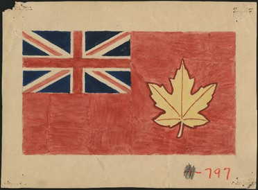 A flag design with the Union Jack in the left-hand top corner and a gold maple leaf on the right with a red background.