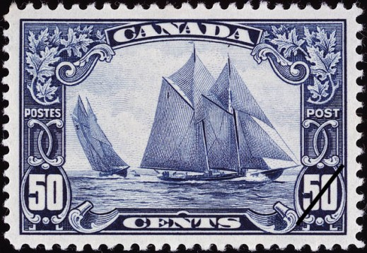 Canada Post 50-cent stamp with an engraving showing two images of the schooner from different angles.